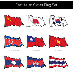east asian states waving flag set vector image