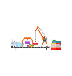 Escalator delivers cargo on ship logistics vector