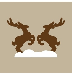 Flat icon on stylish background pair of deer vector