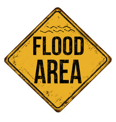 Flood area vintage rusty metal sign vector