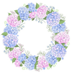 Floral circle frame with hydrangea flowers vector