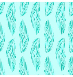 floral pattern with leaves in light-blue colors vector image