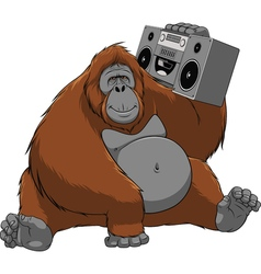Funny monkey with a tape recorder vector image