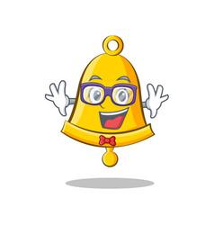 Geek school bell character cartoon vector