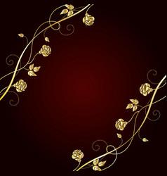 gold flowers on dark background vector image