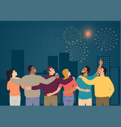 group friends watching fireworks vector image