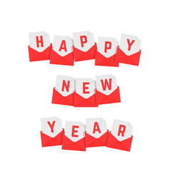 happy new year text red letters vector image