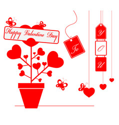 happy valentine day with ornament for decorative vector image