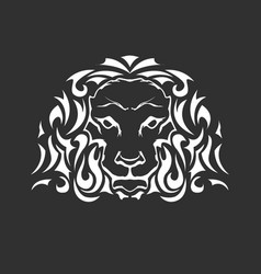 head of lion in tattoo style - front view vector image