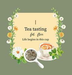 Herbal tea wreath design with mint aster lemon vector