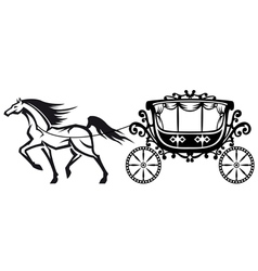 Horse with vintage carriage vector