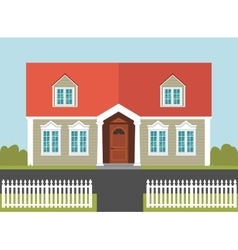 House with a red roof and white fence vector