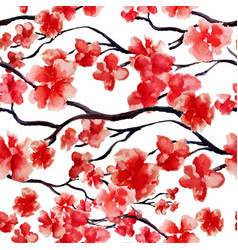 japanese cherry branch spring blossom red sakura vector image