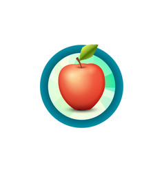 label emblem of fresh tasty apple isolated on vector image