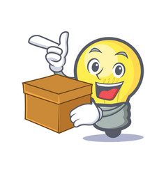 Light bulb character cartoon with box vector