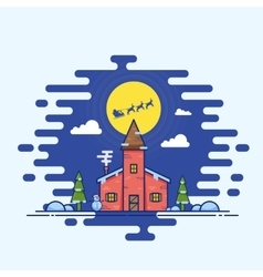 Line style christmas house vector
