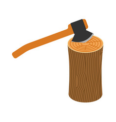 log and axe isolated wooden billet and ax on vector image