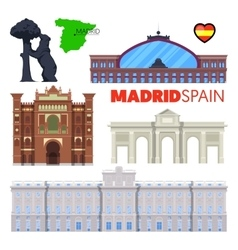 Madrid Spain Travel Doodle with Architecture vector image