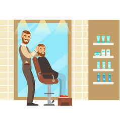 Male hairdresser serving client colorful cartoon vector