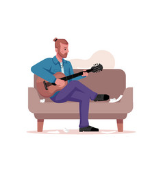 Man on sofa playing on string guitar compose songs vector