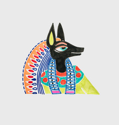 marker sketch drawing of egyptian god anubis vector image