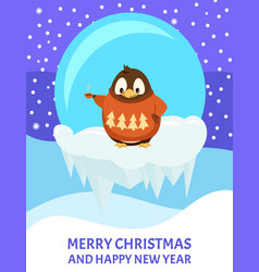 merry christmas and new year penguin in sweater vector image