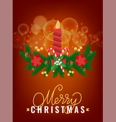 merry christmas greeting card spruce branch candle vector image