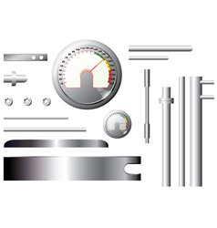 Metal measuring elements and pipes - set vector