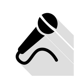 microphone sign black icon with flat vector image