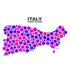 Mosaic capri island map of spheric dots vector