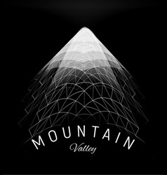 mountain valley grid concept wireframe polygon vector image