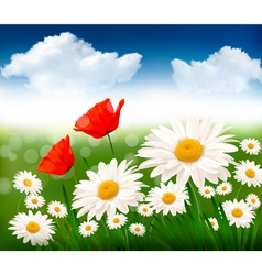 Nature background with beautiful flowers and blue vector