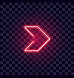Neon arrow luminous indicator tube showing vector