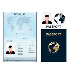 Passport with biometric data identification vector