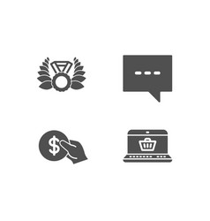 payment laureate medal and blog icons online vector image