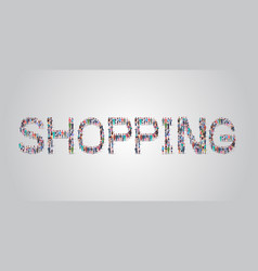 people crowd gathering in shape shopping word vector image