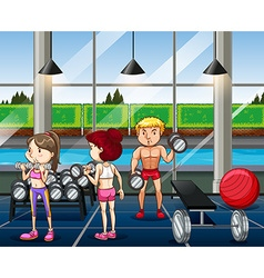 People working out in the gym vector