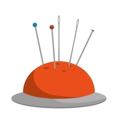 Pincushion with pins and needle vector