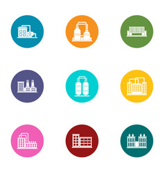 Pipe factory icons set flat style vector
