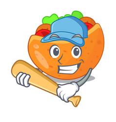 Playing baseball falafel in pita in bread cartoon vector