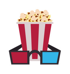 Popcorn bucket with 3d glasses icon image vector