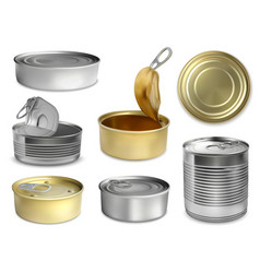 Preserve tin realistic set vector