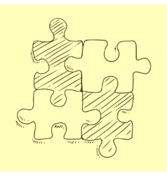 Puzzles flat pieces sketch vector