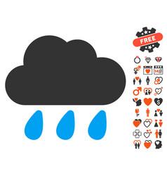 Rain cloud icon with valentine bonus vector