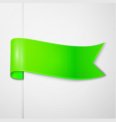 Realistic shiny green ribbon isolated vector