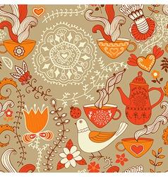 Retro coffee seamless pattern tea background vector