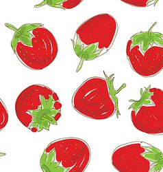 Seamless pattern Set red strawberries on a white vector image