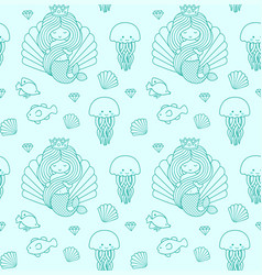 seamless pattern with little mermaid fish vector image