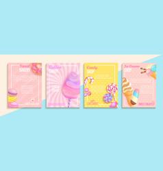 Set of bakerycandycotton candyice cream flyers vector