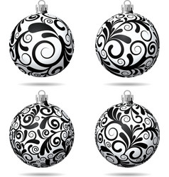 Set of Black and white Christmas balls vector image